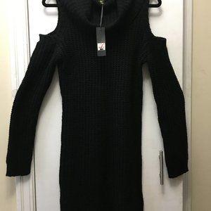 Womens Black Long Shoulderless Sweater or Dress